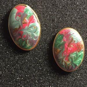 Gold and enamel vintage earrings